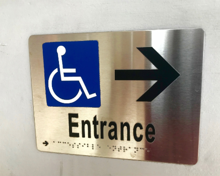 Directional ADA signs in Austin, Texas