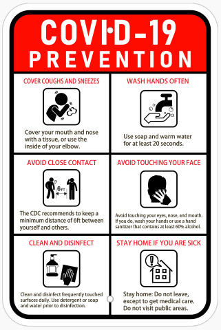 Covid 19 Prevention Sign In Austin - Georgetown Sign Company