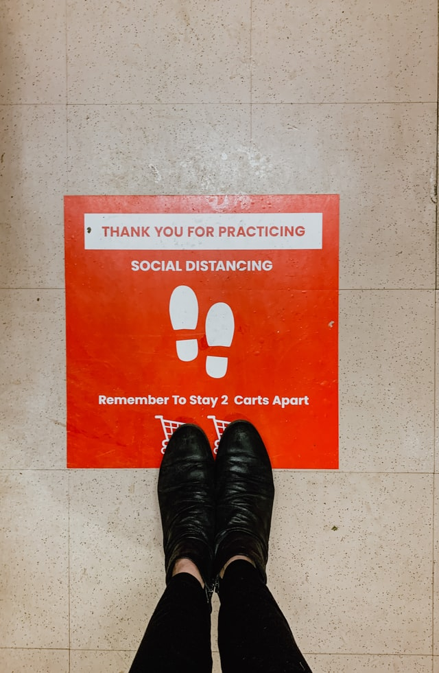 Social distancing vinyl floor decals in Austin, TX